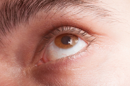brown eye: Male brown eye with contact lens macro Stock Photo