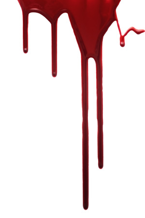 Gota roja de la sangre aislado en fondo blanco Foto de archivo - 41697299