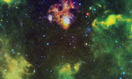 cosmology: Abstract Space landscape with nebula and stars