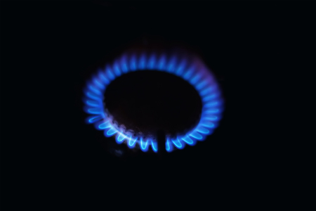 blue flames: Gas burners, burning in the dark blue flames
