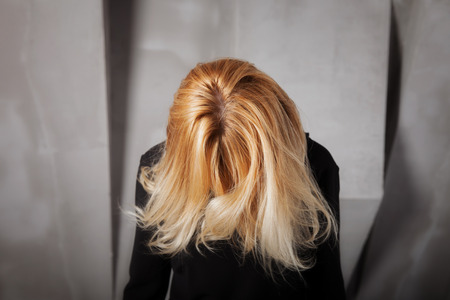 hair studio: Beautiful healthy dyed blond hair of young woman
