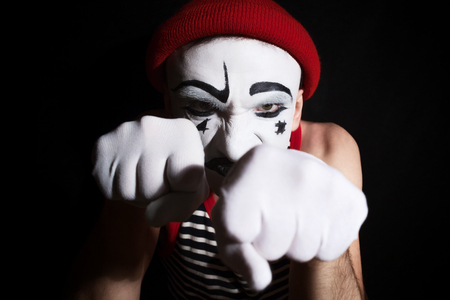 mime: Portrait of an actor with makeup mime Stock Photo