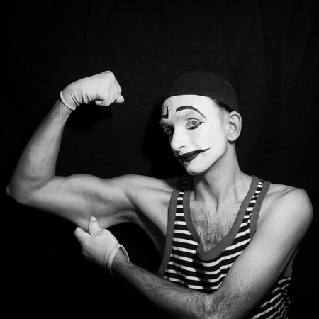 mime: Black and white Portrait of mime actor  closeup