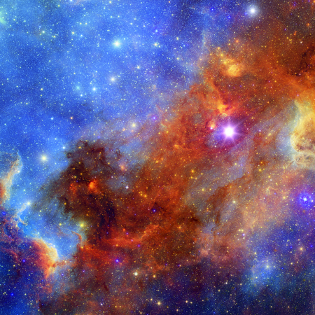 Space background with beautiful nebula and bright stars