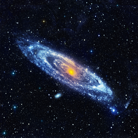 astroimage: Abstract space landscape with a spiral galaxy. Illustration