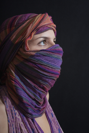 Portrait of a beautiful young woman wearing a hijab. Arabic style women's clothing Imagens