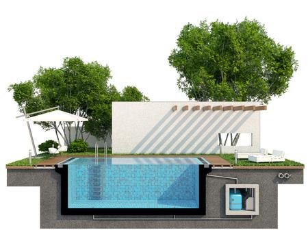 Wenn wir in zwei Hälften geschnitten auf den Pool werden wir sehen, Ausrüstung aus den Augen der Menschen verborgen. Es wird das Pumpen Filtration Abwasserbehandlung und so weiter. Biegen Sie an so schöne Dinge wie Decking Regenschirme links Stühle Pergola Bäume Büsche und Lichter Standard-Bild - 41438069