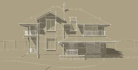 De gevel is een belangrijk onderdeel van het project van een landhuis. Het gebouw is ontworpen in een klassieke stijl. Hellende daken en balkons geven het huis veel aantrekkelijk uiterlijk.