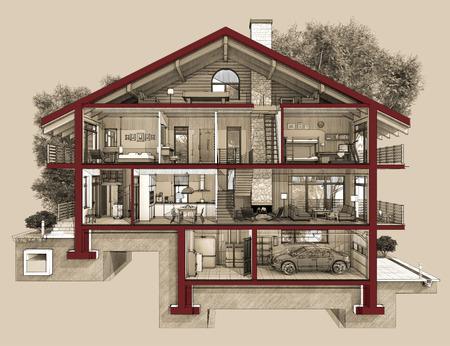 Als we snijden een huis in de helft zullen we zien hoe gezoneerd kamers op de verdieping. Garage en verwarming zijn in de kelder. Keuken woonkamer en hal op de begane grond. De slaapkamer en badkamer bevinden zich op de bovenste verdiepingen Stockfoto