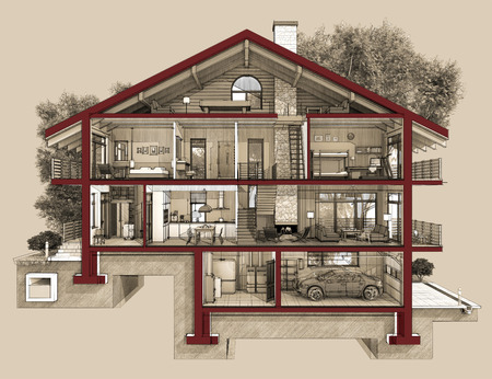 garage on house: If we cut a house in half we will see how zoned rooms on the floors. Garage and heating are in the basement. Kitchen living room and hallway on the ground floor. The bedroom and bathroom are on the upper floors Stock Photo