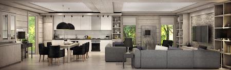 Obývací pokoj kuchyně a jídelna jsou kombinovány v jedné oblasti venkovského domu. Interiér je vyzdoben dřeva a přírodních materiálů.