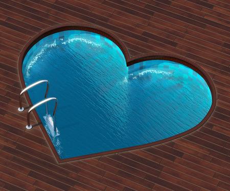 Het beeld combineert het beeld van een hart en een koele zwembad. Zwembad in de vorm van het hart is een interessante oplossing voor terrassen buiten de stad.