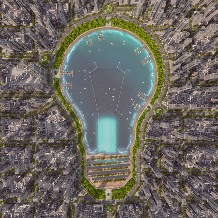 lamp power: The lake like idea for the city. Pond in the center of the city is always great. By the lakeside promenade walking people. They admire the snow-white sailboat and trees overhead. When you work in the city it is always a pleasure to dine on the waterfront.
