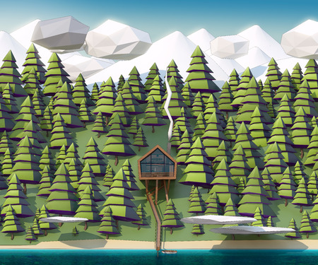 loch: the house on the banks of a wild river, and giant spruce swayed by snow-capped mountains.