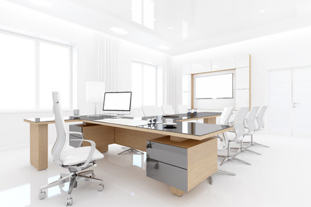 spacious: 3D rendering of Head office is designed in a simple style. Bright and spacious room has no extra parts. Stock Photo