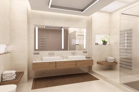 Het interieur van de badkamer in een eigentijdse stijl met natuurlijke materialen. Stockfoto