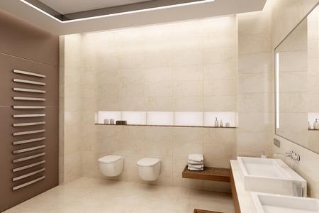 De inter van de badkamer in een eigentijdse stijl met natuurlijke materialen.
