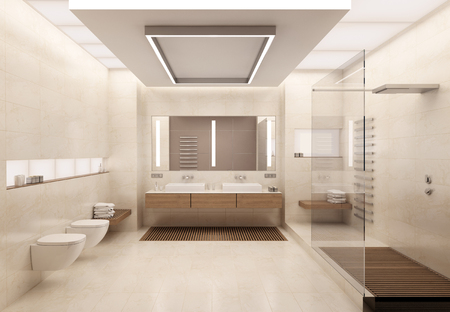 bathroom interior: The interior of the bathroom in a contemporary style using natural materials.