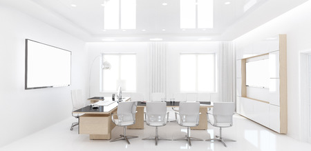 spacious: 3D rendering of head office is designed in a simple style. Bright and spacious room has no extra parts.