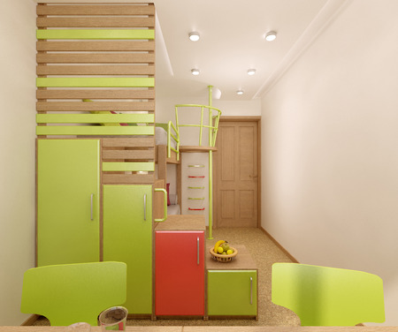 bunk: Childrens room done in bright colors with natural materials. Bunk bed designed for two children. Stock Photo