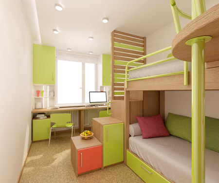 Children's room done in bright colors with natural materials. Bunk bed designed for two children. Archivio Fotografico