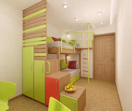 bedchamber: Childrens room done in bright colors with natural materials. Bunk bed designed for two children. Stock Photo