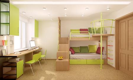 Children's kamer is ingericht in heldere kleuren met natuurlijke materialen. Stapelbed ontworpen voor twee kinderen.