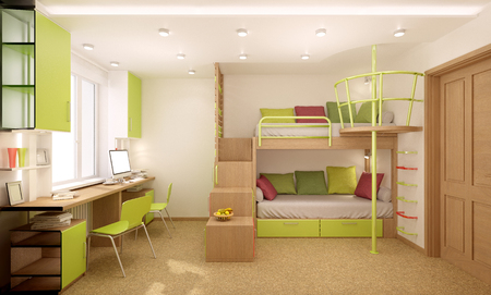 Children's room done in bright colors with natural materials. Bunk bed designed for two children. Standard-Bild