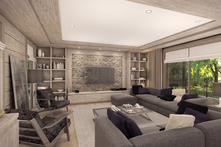 3D rendering of living room, kitchen and dining room are combined in one area of a country house.