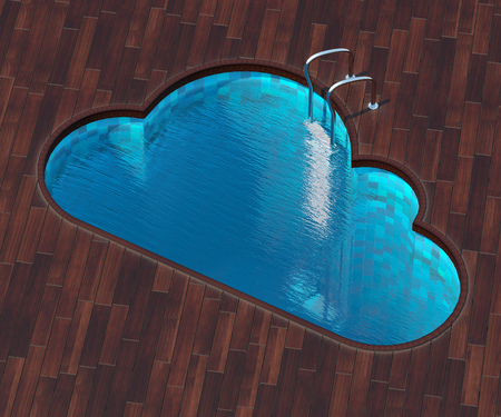 veranda: The picture combines the icon cloud and a cool pool. Swimming pool in the form of the cloud is an interesting solution for terraces outside the city. Stock Photo