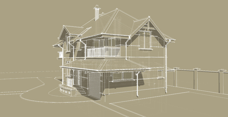 pitched: The facade is an important part of the project of a country house. The building is designed in a classical style. Pitched roofs and balconies give the house a lot of attractive appearance.