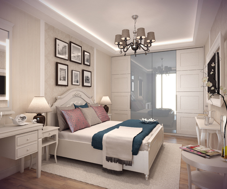 bedchamber: 3D rendering cozy bedroom in classic style. Huge bed with numerous pillows is dominates the room. The interior is decorated with plaster molding and wallpaper. Stock Photo