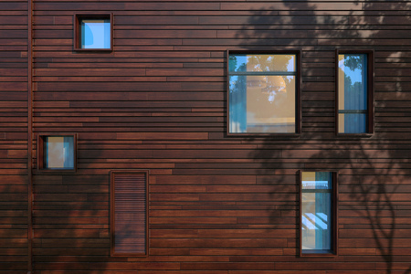 casement: Windows combined rusticated composing modern facade. The rays of the evening sun through the trees and are left on the wall of a fantastic picture branches and leaves of the crown.