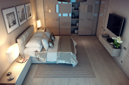 bedchamber: 3D rendering evening cozy bedroom in the modern house. Huge bed with numerous pillows is dominates the room. The interior is decorated with wood and natural materials. Stock Photo