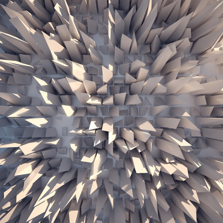 protrude: White crystals protrude from the white plane. Stock Photo