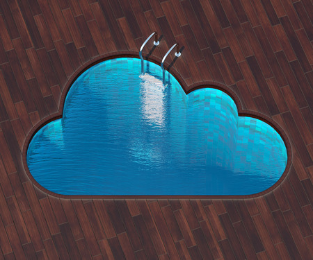 coolness: The picture combines the icon cloud and a cool pool. Swimming pool in the form of the cloud is an interesting solution for terraces outside the city. Stock Photo