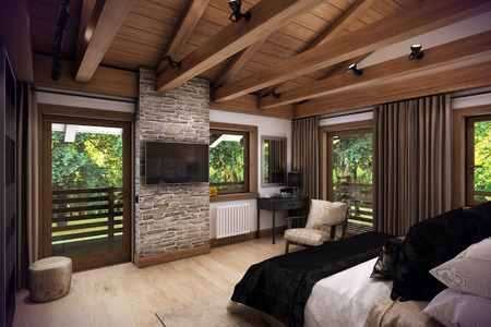 bedchamber: 3D rendering cozy bedroom is in the attic of a chalet. Huge bed with numerous pillows is dominates the room. The interior is decorated with wood and natural materials.