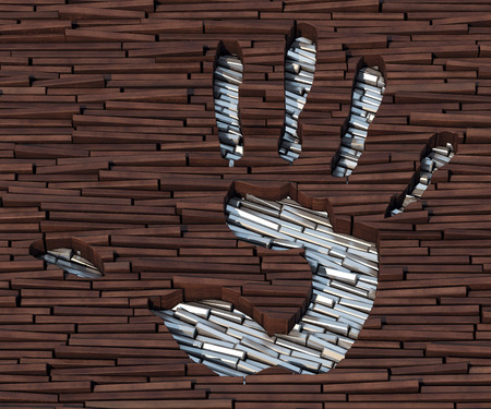 hardness: Silver bars imprinted on wooden boards image of a hand Stock Photo