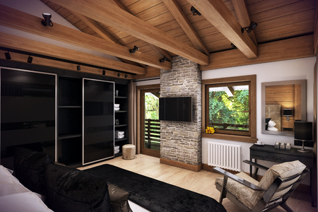 cosiness: 3D rendering cozy bedroom is in the attic of a chalet. Huge bed with numerous pillows is dominates the room. The interior is decorated with wood and natural materials.