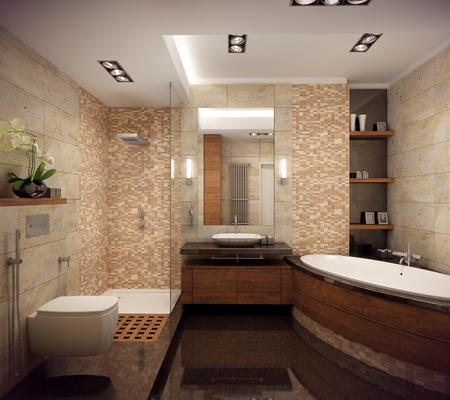 3D rendering of the interior of the bathroom in a contemporary style using natural materials.