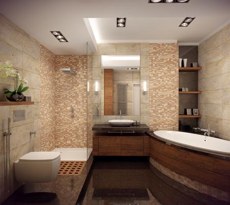 3D-rendering van het interieur van de badkamer in een eigentijdse stijl met natuurlijke materialen.