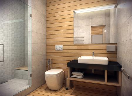 3D-weergave van het interieur van de badkamer in een eigentijdse stijl met behulp van natuurlijke materialen.