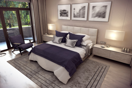 repose: 3D rendering cozy bedroom is in the attic of a chalet. Huge bed with numerous pillows is dominates the room. The interior is decorated with wood and natural materials.