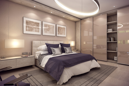 garret: 3D rendering cozy bedroom is in the attic of a chalet. Huge bed with numerous pillows is dominates the room. The interior is decorated with wood and natural materials.