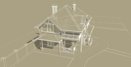 front elevation: The facade is an important part of the project of a country house. The building is designed in a classical style. Pitched roofs and balconies give the house a lot of attractive appearance.
