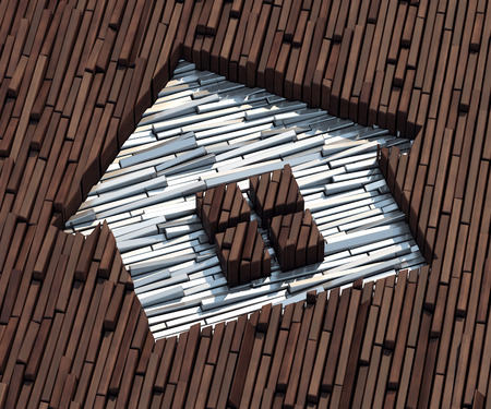 hardness: Silver bars imprinted on wooden boards image of a house Stock Photo