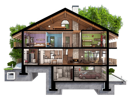 If we cut a house in half we will see how zoned rooms on the floors. Garage and heating are in the basement. Kitchen, living room and hallway on the ground floor. The bedroom and bathroom are on the upper floors Stockfoto