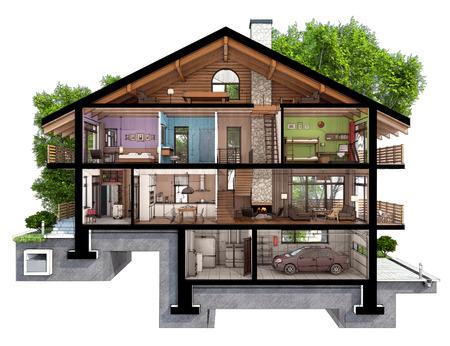 Wenn wir ein Haus in zwei Hälften geschnitten werden wir sehen, wie in Zonen aufgeteilten Zimmer auf den Etagen. Garage und Heizung sind im Keller. Küche, Wohnzimmer und Flur im Erdgeschoss. Das Schlafzimmer und das Badezimmer sind auf den oberen Etagen