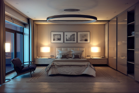 3D rendering evening cozy bedroom in the modern house. Huge bed with numerous pillows is dominates the room. The interior is decorated with wood and natural materials. Banco de Imagens