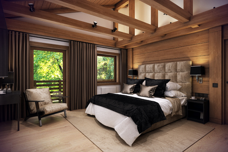 3D rendering cozy bedroom is in the attic of a chalet. Huge bed with numerous pillows is dominates the room. The interior is decorated with wood and natural materials.